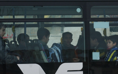 **FILE2004** Israeli children riding to school on an Egged city bus in Jerusalem on January 22, 2004 Photo by Flash90 *** Local Caption *** ????????????????????? ?????????? ???