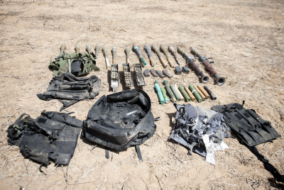Weapons discovered in an IDF raid. Photo by IDF Spokesperson/Flash90