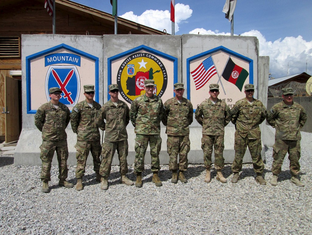John Nicholson, U.S. commander General for Afghanistan (fourth from left), at forward operating base Gamberi, Laghman province, on Monday.(Reuters/Paul Tait)