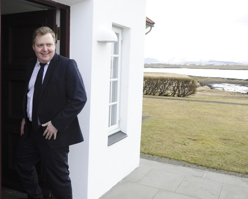 Iceland Prime Minister Sigmundur David Gunnlaugsson arrives at the Iceland president's residence in Reykjavik, Iceland, on Tuesday. Soon thereafter, it was announced that he would resign. (Reuters/Sigtryggur Johannsson)