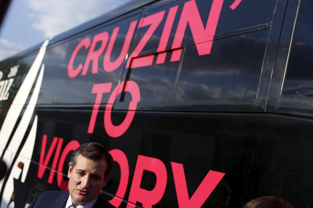 U.S. Republican presidential candidate Ted Cruz (R-TX) speaks with the media before a campaign event at the Johnson County Fairgrounds in Franklin, Indiana. (Aaron P. Bernstein/Reuters)