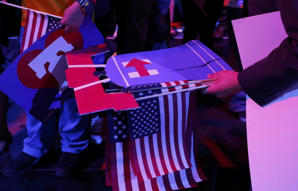 Supporters wait for Democratic U.S. presidential candidate Hillary Clinton at her five state primary night rally in Philadelphia, Pennsylvania, (Dominick Reuter/Reuters)