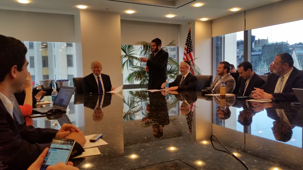 Donald Trump meeting with Jewish media at the Trump Tower in Midtown Manhattan on Thursday afternoon. (Yochonon Donn)