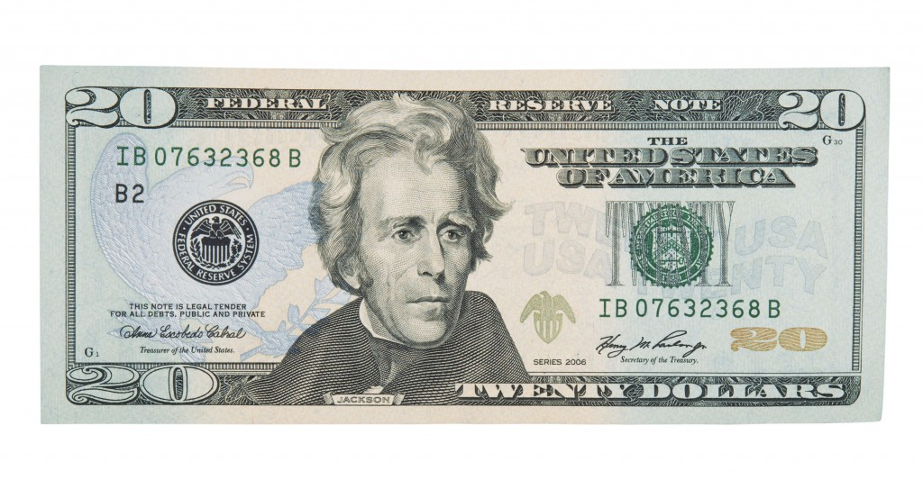 The front of the current $20 bill features Andrew Jackson.