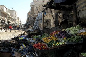 Produce lies amidst damaged shops after an airstrike on a market in the town of Maarat al-Numan in the insurgent stronghold of Idlib province, Syria, on Tuesday. (Reuters/Ammar Abdullah)