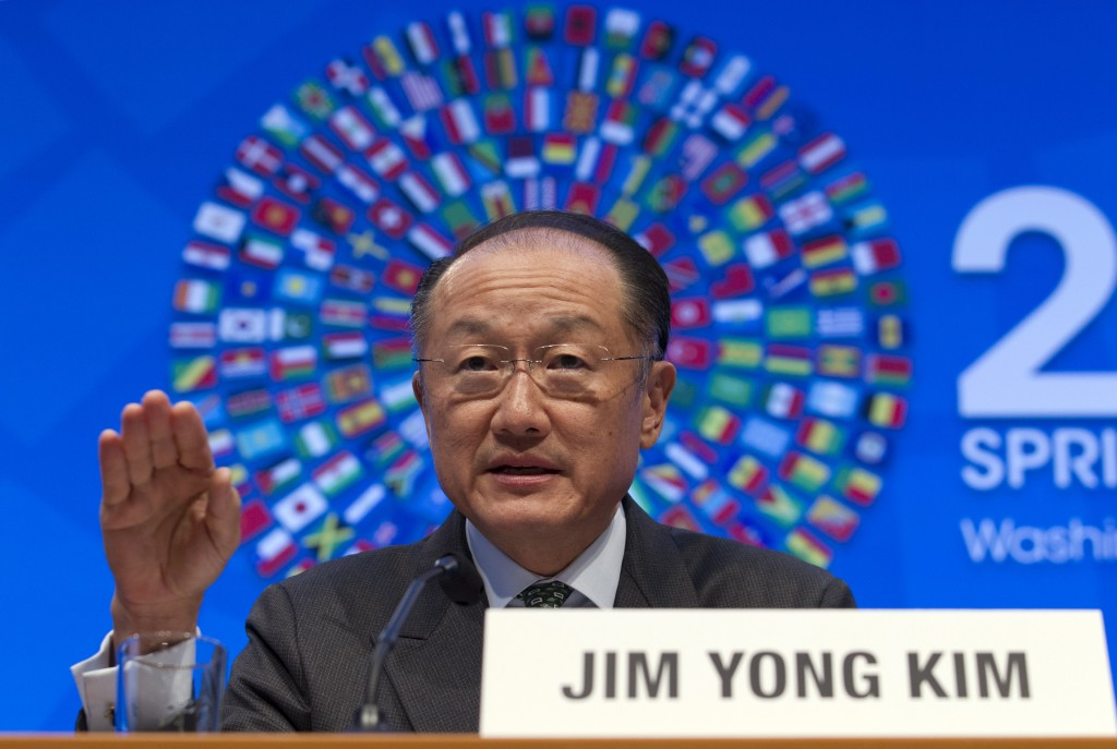 World Bank President Jim Yong Kim speaking Thursday at a news conference during the World Bank/IMF Spring Meetings at IMF headquarters in Washington. ( AP Photo/Jose Luis Magana)