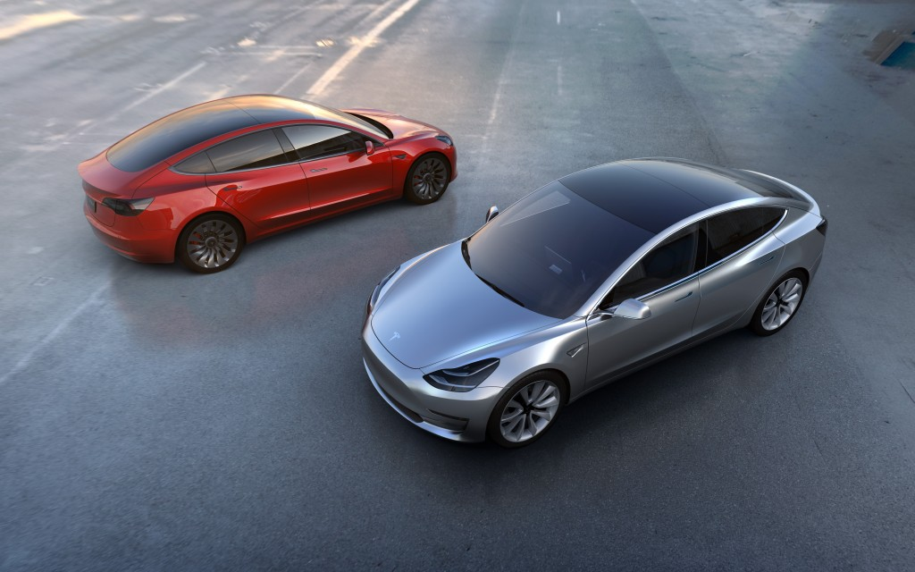 The new Tesla Model 3. (Tesla Motors via AP)