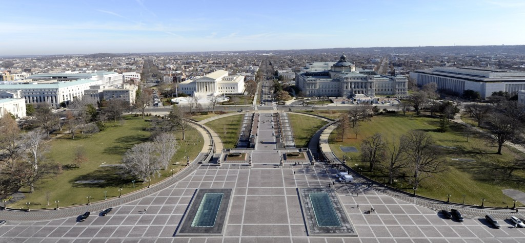 A view of the Supreme Court and the Library of Congress can be seen from the view near the top of the Capitol Dome on Capitol Hill. (AP Photo/Susan Walsh)