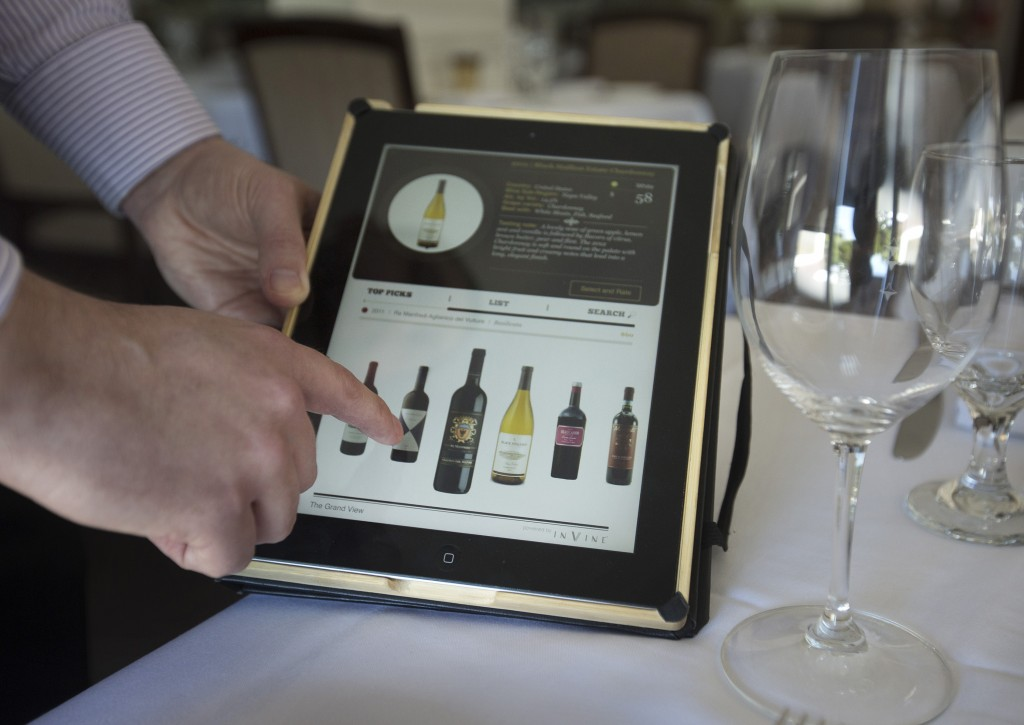 The wine list at the Mount Hamilton Grandview Restaurant in San Jose, Calif., is displayed on an iPad. (Patrick Tehan/Bay Area News Group/TNS)