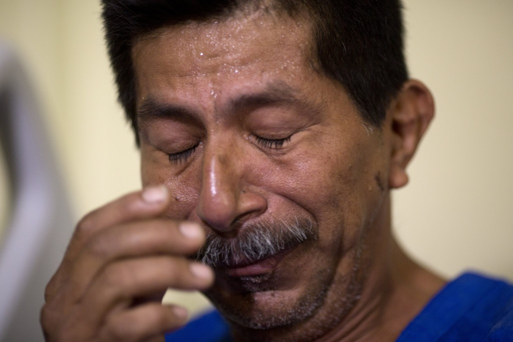 Earthquake survivor Pablo Rafael Cordova Canizares cries as he rests at the Verdi Cevallos Balda hospital in Portoviejo, Ecuador, on Tuesday. (AP Photo/Rodrigo Abd)