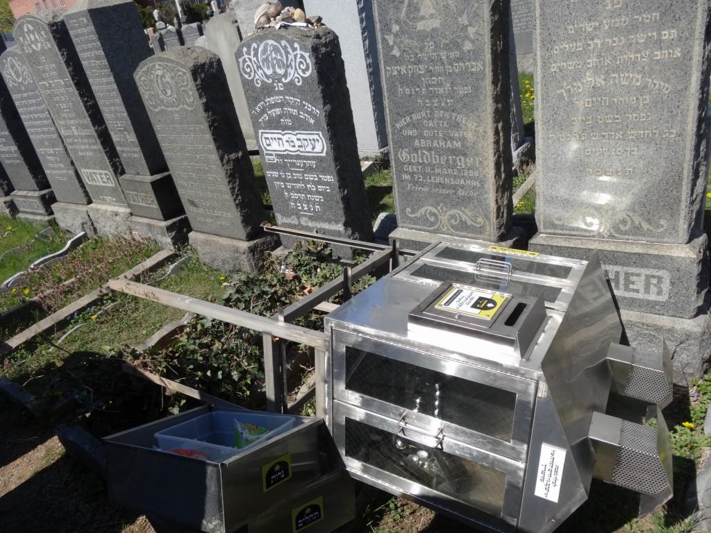 The vandalized candle box at Rav Eherenreich's matzeivah. (Hamodia Photo)
