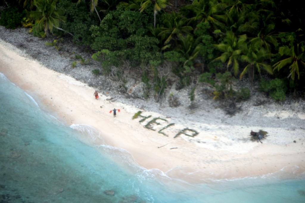 A U.S. Navy P-8A maritime surveillance aircraft discovers the missing men on the island of Fanadik. (U.S. Navy/Ensign John Knight via AP)