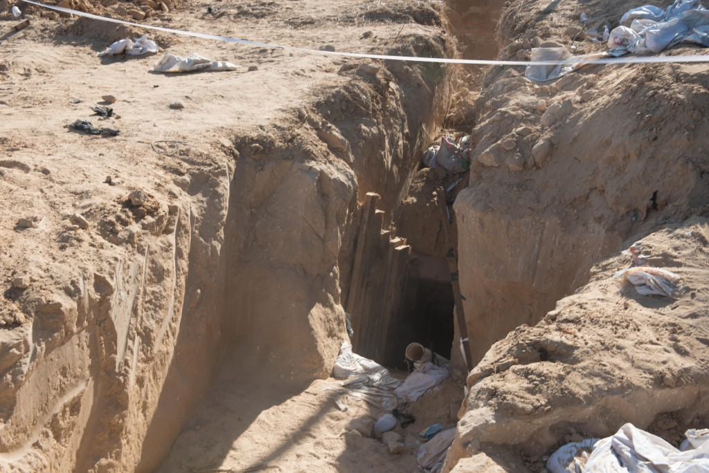 A view of the entrance to the Hamas terror tunnel that crossed into Israeli territory and was discovered and neutralized by the IDF. (IDF Spokesperson)