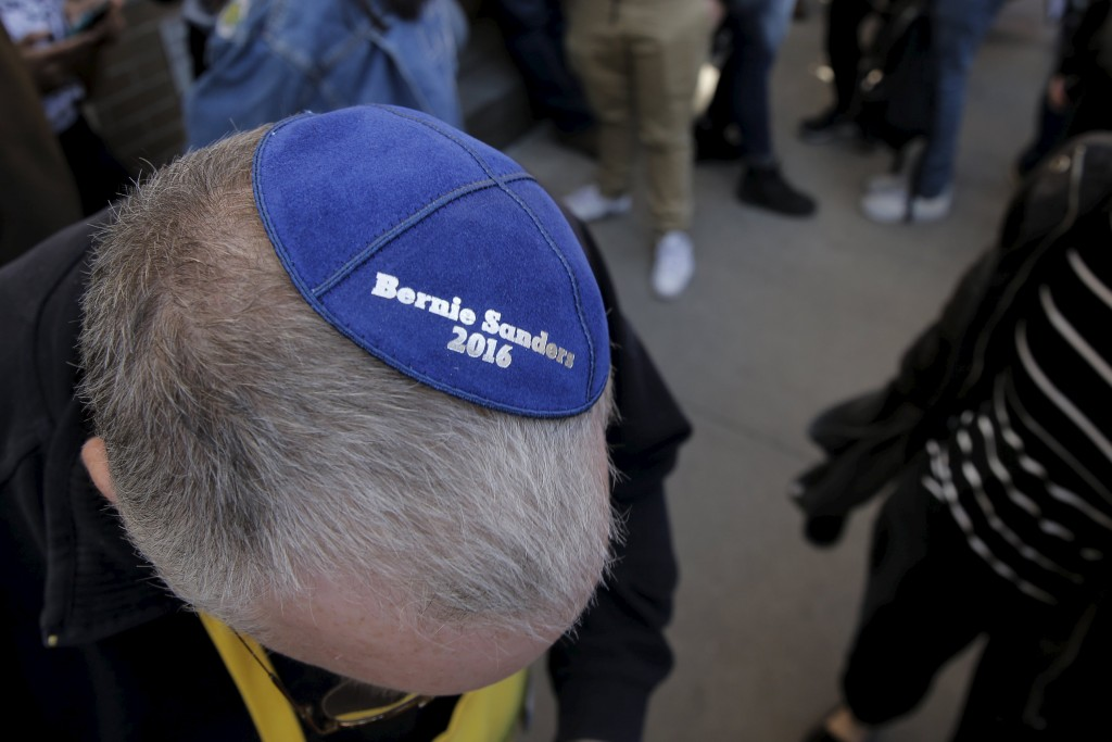 A supporter shows his Yamaka at a campaign rally with U.S. Democratic presidential candidate and U.S. Senator Bernie Sanders in Washington Square Park in the Greenwich Village neighborhood of New York, New York April 13, 2016.REUTERS/Brendan McDermid