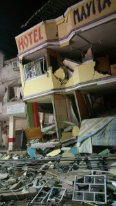 An hotel barely stands after an earthquake in the town of Manta, Ecuador. (AP Photo/Patricio Ramos)