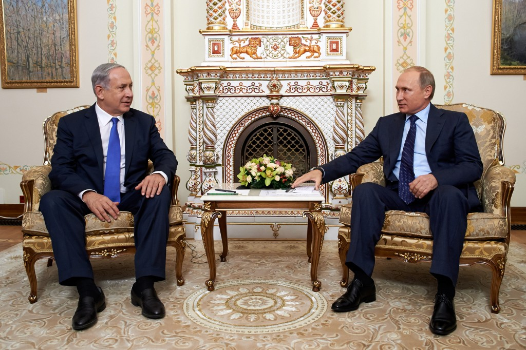 In this Sep. 21, 2015 photo, Israeli Prime Minister Binyamin Netanyahu meets with Russian President Vladimir Putin, during an official visit to Moscow. (Israeli Embassy in Russia)