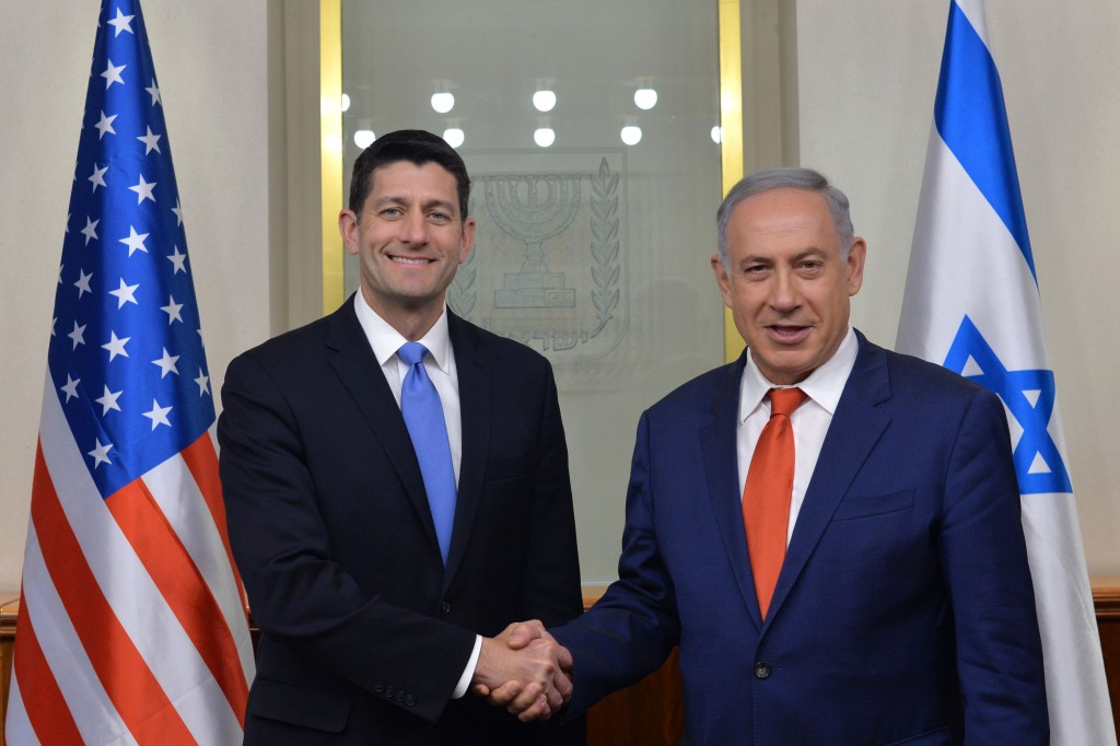 Paul Ryan, Speaker of the U.S. House of Representatives (L), meets with Israeli Prime Minister Binyamin Netanyahu at  Netanyahu's office in Yerushalayim on Monday. (Kobi Gideon/GPO)