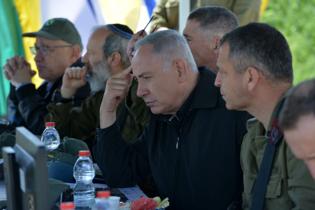 Prime minister Benjamin Netanyahu seen during a security and defense tour in the Golan Heights, near the Northern Israeli border with Syria. (Kobi Gideon/GPO)