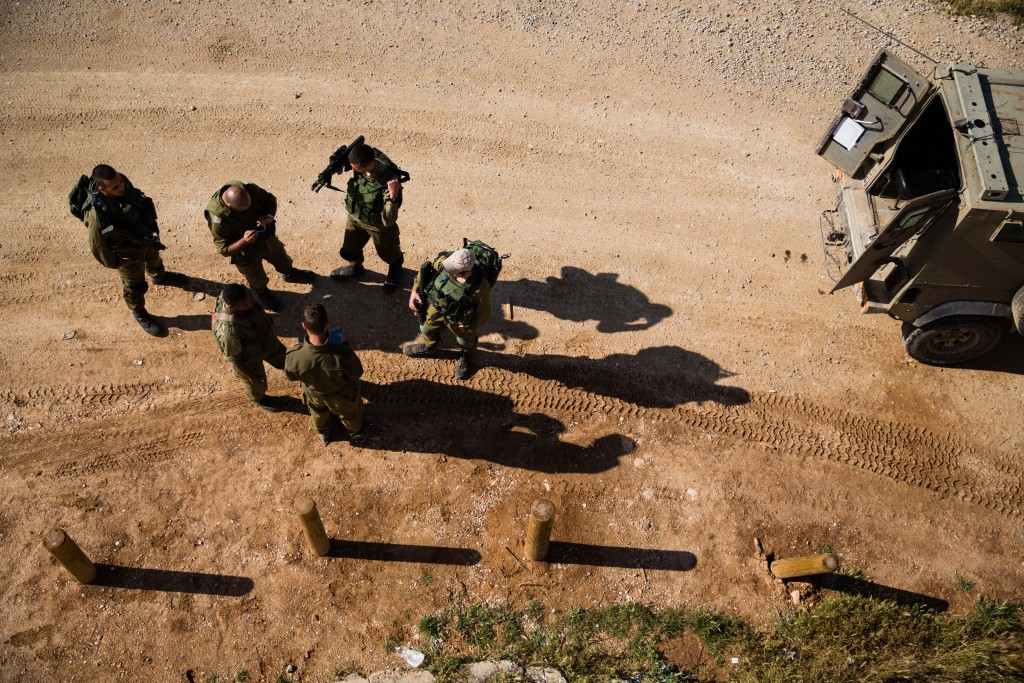 Israeli soldiers during a patrol at the Anzac Memorial just outside the central Gaza strip on April 13, 2016 in Southern Israel. (Corinna Kern/Flash90)