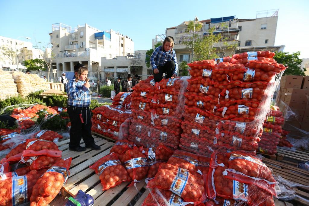 """Ultra orthodox man carry food products which are collected and then given away by Hasidic ultra orthodox, as part of the Passover customs called """"Kimcha De Pascha"""" in Beit Shemesh. April 20, 2016. Photo by Yaakov Lederman/Flash90 *** Local Caption *** çøãéí ôñç ÷îçà ãôñçà çìå÷ú îæåï áéú ùîù çøãéí"""