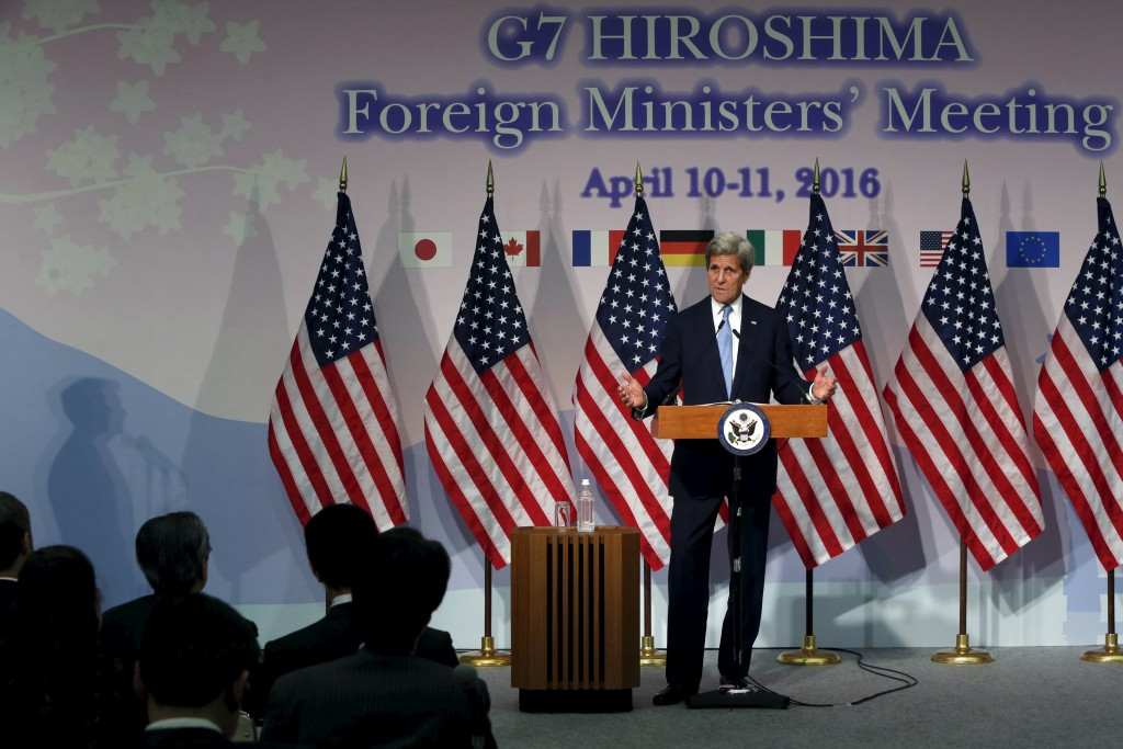 U.S. Secretary of State John Kerry holds a news conference at the conclusion of the G7 foreign ministers meetings in Hiroshima, Japan, April 11, 2016. REUTERS/Jonathan Ernst