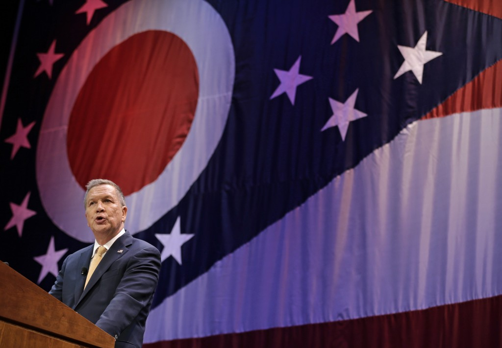 Republican presidential candidate, Ohio Gov. John Kasich delivers the State of the State address at the Peoples Bank Theatre, Wednesday, April 6, 2016, in Marietta, Ohio. (AP Photo/Tony Dejak)