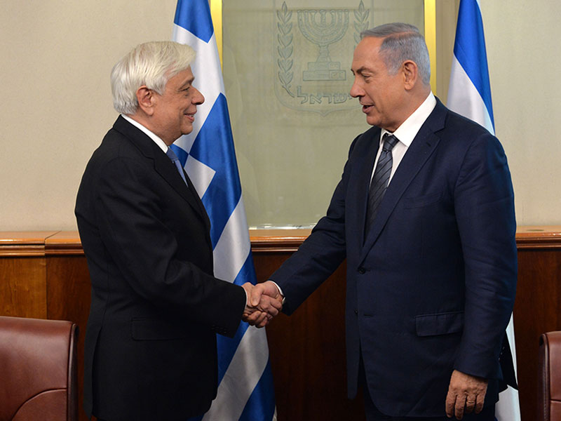 Israeli Prime Minister Benjamin Netanyahu meets with Greek president Prokopis Pavlopoulos, at PM Netanyahu's office in Jeusalem on March 31, 2016. Photo by Kobi Gideon / GPO