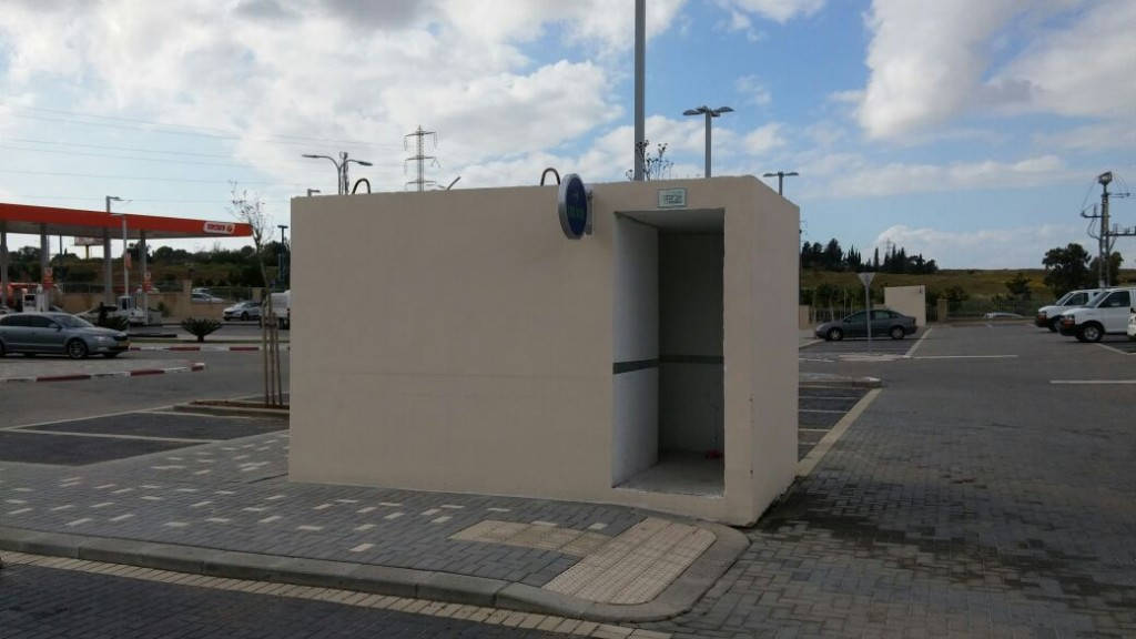 The new mini-shelter produced by Avigam, set up in a street in Sderot. (Avigam)