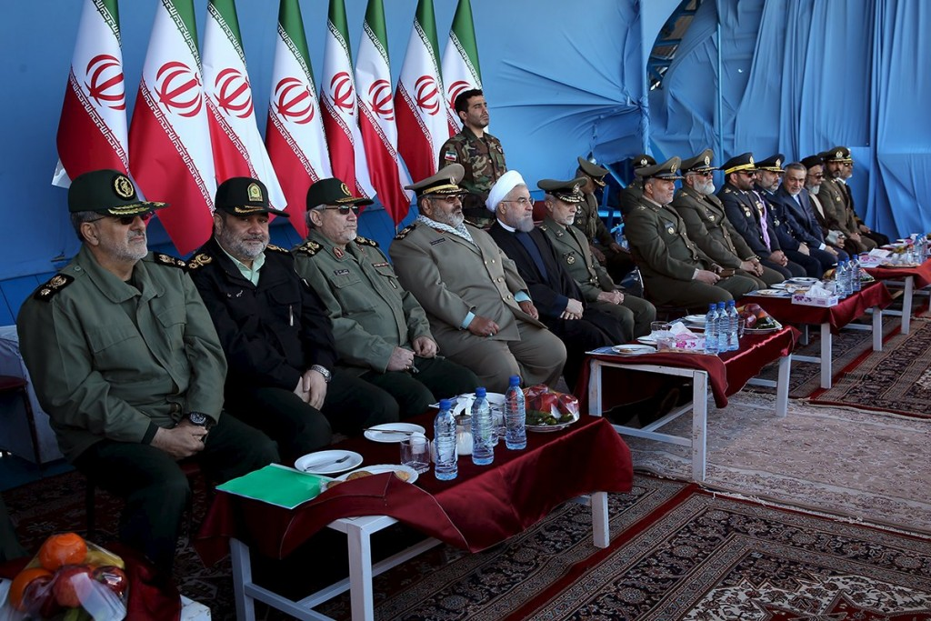 Iranian President Hassan Rouhani (5th L) attends a military parade marking National Army Day in Tehran, Iran, April 17, 2016. REUTERS/President.ir/Handout via Reuters ATTENTION EDITORS - THIS IMAGE WAS PROVIDED BY A THIRD PARTY. REUTERS IS UNABLE TO INDEPENDENTLY VERIFY THE AUTHENTICITY, CONTENT, LOCATION OR DATE OF THIS IMAGE. IT IS DISTRIBUTED EXACTLY AS RECEIVED BY REUTERS, AS A SERVICE TO CLIENTS. FOR EDITORIAL USE ONLY. NOT FOR SALE FOR MARKETING OR ADVERTISING CAMPAIGNS. NO RESALES. NO ARCHIVE.