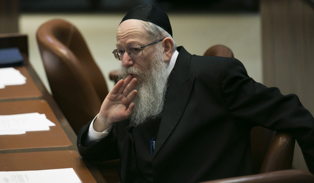 United Torah Judaism's Rabbi Yaakov Litzman in the Knesset. (Flash 90)