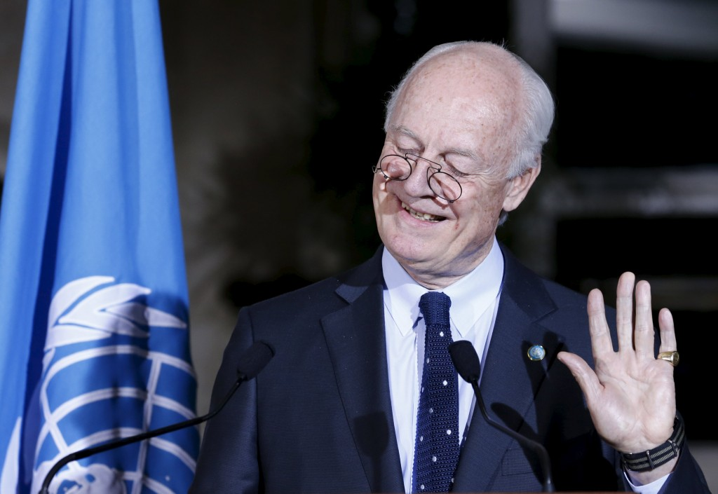 U.N. mediator Staffan de Mistura attends a news conference after a meeting with the High Negotiations Committee (HNC) during Syria Peace talks at the United Nations in Geneva, Switzerland, April 13, 2016. REUTERS/Denis Balibouse