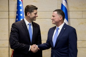 Speaker Ryan, left, shakes hands with Knesset Speaker Yuli Edelstein, during a meeting at the Knesset on Monday. (AP Photo/Sebastian Scheiner)