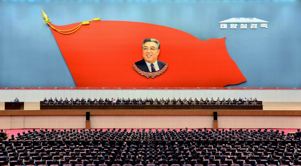 A Central Committee meeting is held to mark the 104th birth anniversary of North Korea's founder Kim Il Sung in this undated photo released by North Korea's Korean Central News Agency (KCNA) on April 14, 2016 REUTERS/KCNA ATTENTION EDITORS - THIS PICTURE WAS PROVIDED BY A THIRD PARTY. REUTERS IS UNABLE TO INDEPENDENTLY VERIFY THE AUTHENTICITY, CONTENT, LOCATION OR DATE OF THIS IMAGE. FOR EDITORIAL USE ONLY. NOT FOR SALE FOR MARKETING OR ADVERTISING CAMPAIGNS. THIS PICTURE IS DISTRIBUTED EXACTLY AS RECEIVED BY REUTERS, AS A SERVICE TO CLIENTS. NO THIRD PARTY SALES. SOUTH KOREA OUT. NO COMMERCIAL OR EDITORIAL SALES IN SOUTH KOREA