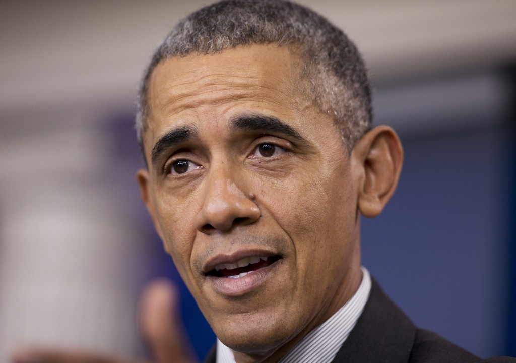 """In this April 5, 2016, photo, President Barack Obama speaks in the Brady Press Briefing Room at the White House in Washington. The president's trip to the Middle East and Europe may have been planned as the first in a series of farewell visits, but it's shaping up to be a reassurance tour. When Obama lands in Saudi Arabia, Britain and Germany this week, he'll be met by leaders who share worries about the United States' long-term commitment to them and irritation at him describing them as international """"free riders."""" (AP Photo/Manuel Balce Ceneta)"""