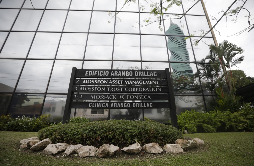 A marquee of the Arango Orillac Building in Panama City  lists the Mossack Fonseca law firm. (AP Photo/Arnulfo Franco)