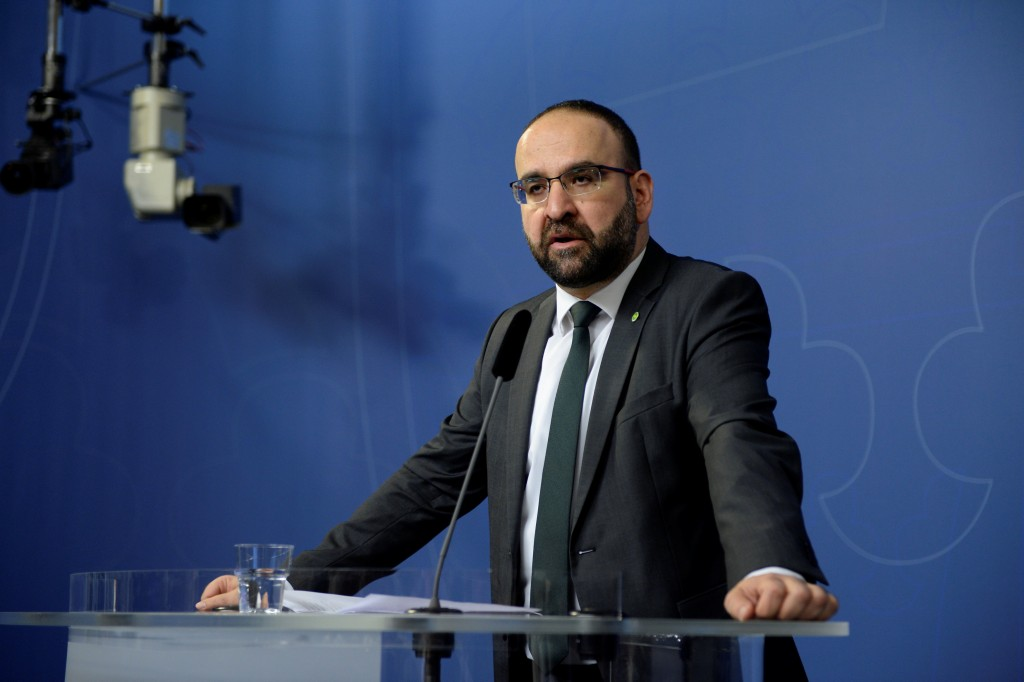 Sweden's Housing Minister Mehmet Kaplan speaks during a news conference at the seat of the Government in Stockholm, Sweden April 18, 2016. REUTERS/Jessica Gow/TT News Agency?ATTENTION EDITORS - THIS IMAGE WAS PROVIDED BY A THIRD PARTY. FOR EDITORIAL USE ONLY. NOT FOR SALE FOR MARKETING OR ADVERTISING CAMPAIGNS. THIS PICTURE IS DISTRIBUTED EXACTLY AS RECEIVED BY REUTERS, AS A SERVICE TO CLIENTS. SWEDEN OUT. NO COMMERCIAL OR EDITORIAL SALES IN SWEDEN. NO COMMERCIAL SALES.