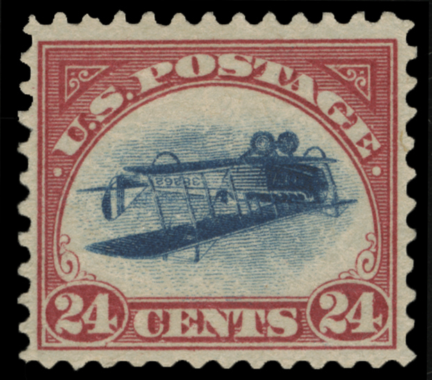 """A 1918 """"inverted Jenny"""" stamp which was stolen in 1955 and surfaced last week. (Spink USA via AP)"""