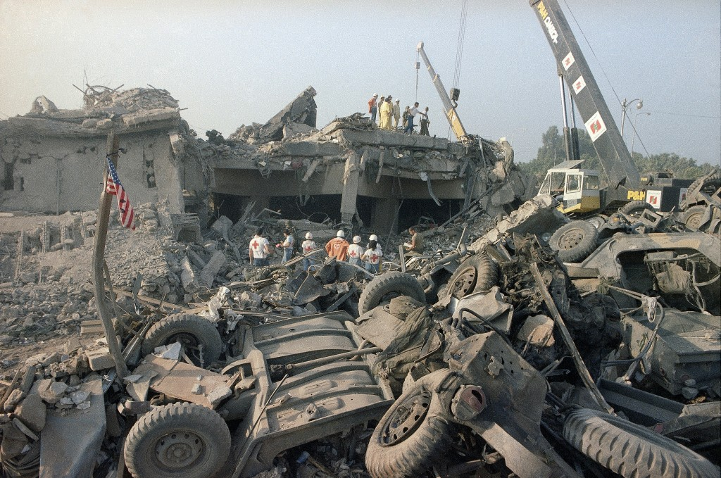 This photo, taken on Oct. 23, 1983 photo, shows the aftermath of the bombing of the U.S. Marines barracks in Beirut, Lebanon. (AP Photo/Jim Bourdier, File)