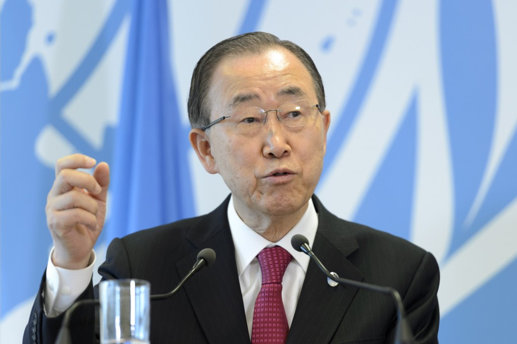 "United Nations Secretary-General Ban Ki-moon addresses the media after a conference meant to further efforts to resettle Syrian refugees at the United Nations in Geneva, Switzerland, Wednesday, March 30, 2016. Ban Ki-moon was urging governments around the globe to let in more people from Syria and ""counter fearmongering"" about refugees. (Martial Trezzini/Keystone via AP)"