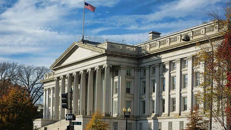 The U.S. Treasury building in Washington, D.C.