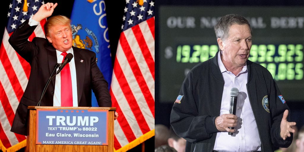 This composite photo shows Republican presidential candidates (L) Donald Trump speaking Saturday at a campaign rally in Eau Claire, Wis. (AP Photo/Jim Mone); and (R) John Kasich at a town-hall talk Saturday at the Armory in Janesville, Wis. ((Angela Major/The Janesville Gazette via AP)