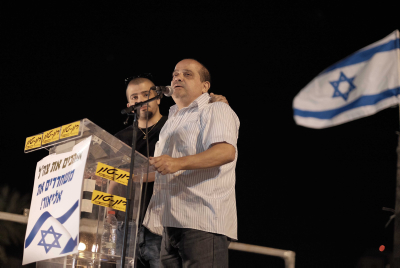 Charley Azaria, Father of Elior Azaria, The Israeli soldier, who shot a Palestinian terrorist in Hevron speaks during a rally in support of his son at Rabin Square in Tel Aviv, April 19, 2016. Photo by Tomer Neuberg/Flash90