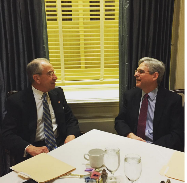 Sen. Grassley meeting with juddge Garland on Tuesday, in a photo posted by Grassley on his Instagram account.