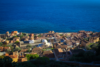 A view of an old village and the Mediterranean sea near Neopoli, Greece. Photograph by Esther Rubyan/Flash90