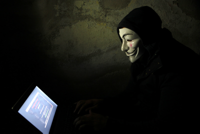 A self-proclaimed Anonymous hacker. Photo by Sliman Khader/FLASH90