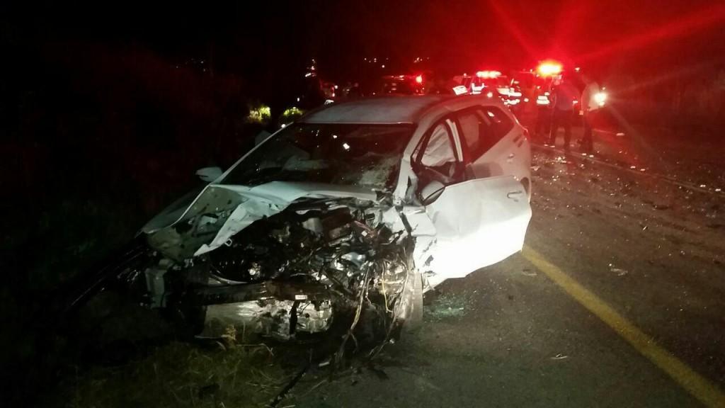 The scene of the car crash, Thursday night. (Hatzalah)
