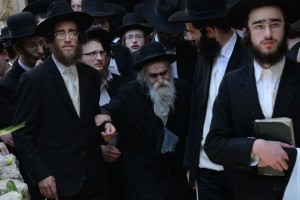 Hagaon Harav Dovid Soloveitchik, shlita, brother of the niftar, at the levaya on Sunday. (Shuki Lerer/JDN)