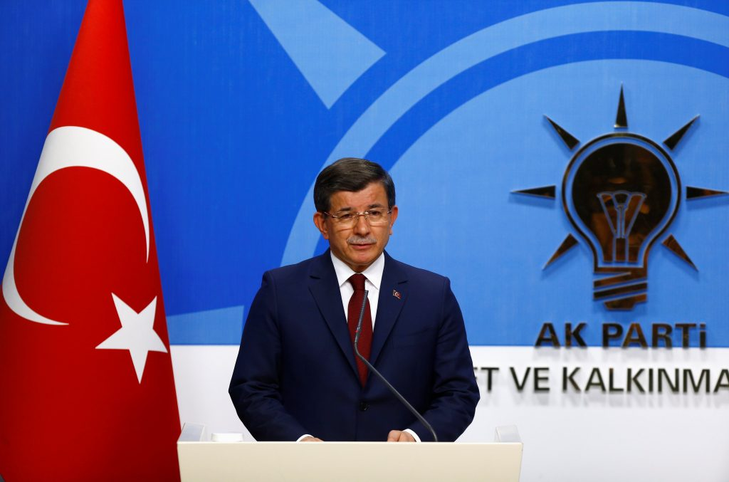 Turkish Prime Minister Ahmet Davutoglu at a news conference at his ruling AK Party headquarters in Ankara, Turkey, on Thursday. (Reuters/Umit Bektas)