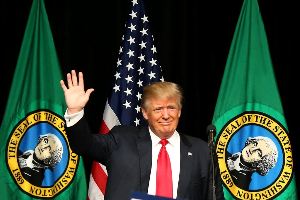U.S. Republican presidential candidate Donald Trump waves during a campaign rally in Spokane, Washington. (Jake Parrish/Reuters)