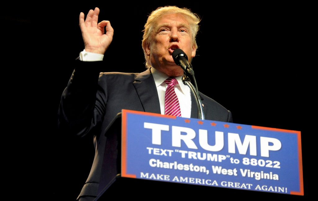 Republican presidential candidate Donald Trump speaks to supporters in Charleston, West Virginia. (Chris Tilley/Reuters)